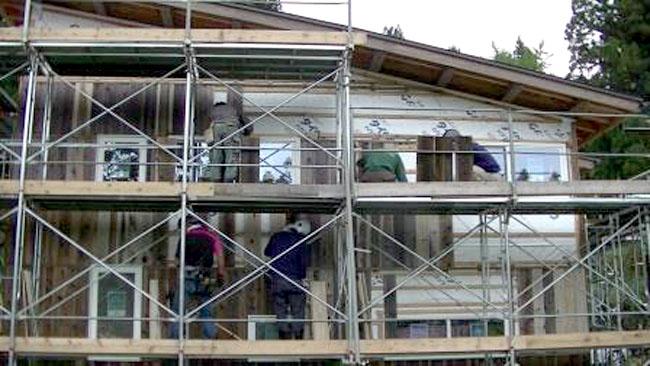 家の建設の様子