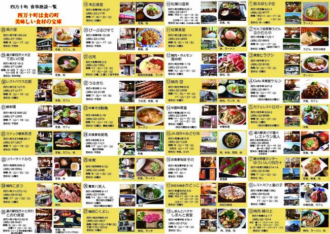 四万十町観光協会の「食」マップ