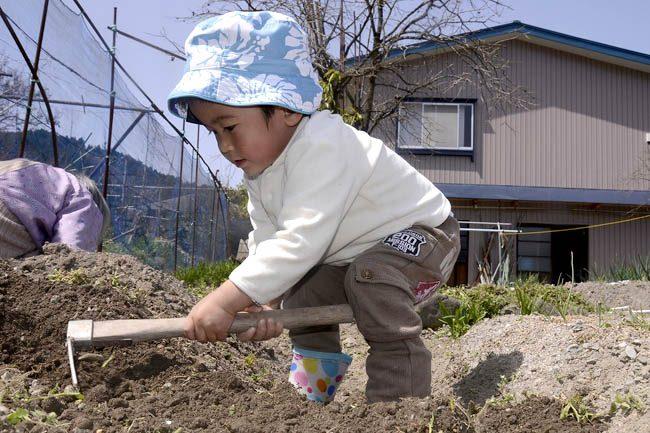 子ども 畑仕事